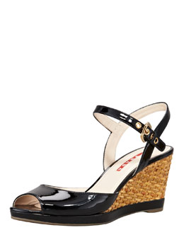 Prada Patent Open-Toe Wicker Wedge Sandal, Black