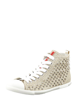 Prada Studded Glitter High-Top Sneaker Gold