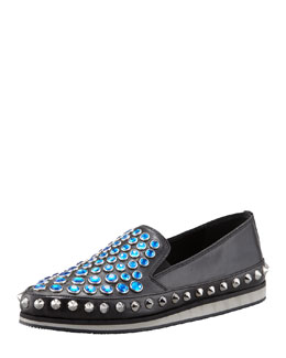 Prada Jewel-Stud Slip-On Sneaker, Black/Blue