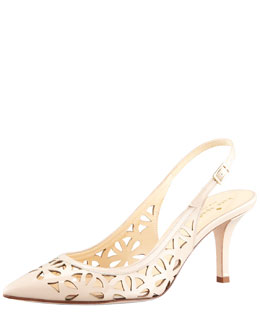 kate spade new york jacey cutout kitten-heel slingback, powder nude