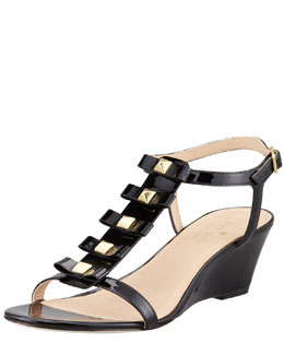 kate spade new york darcey bow-studded wedge sandal, black