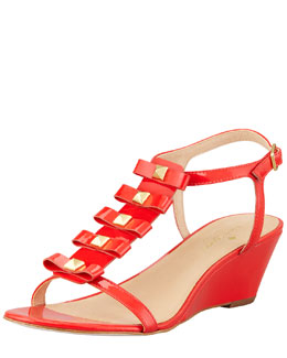 kate spade new york darcey bow-studded wedge sandal, orange