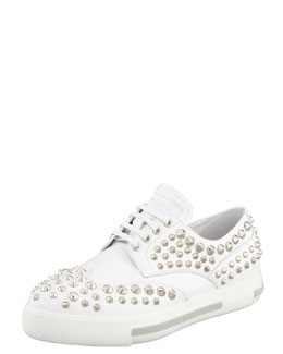 Prada Studded Lace-Up Sporty Oxford, White
