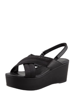 Prada Grosgrain Crossover Wedge Sandal, Black