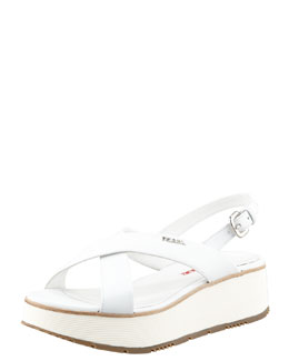 Prada Leather Crossover Platform Sandal, White