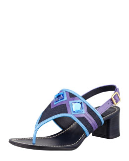 Tory Burch Etta Embellished Low-Heel Thong Sandal