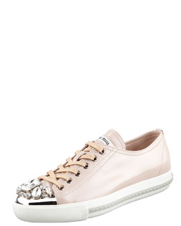 Miu Miu Jeweled Cap-Toe Sneaker, Cipria