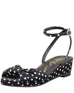Alice + Olivia Alexi Polka-Dot Faille Low-Wedge Sandal