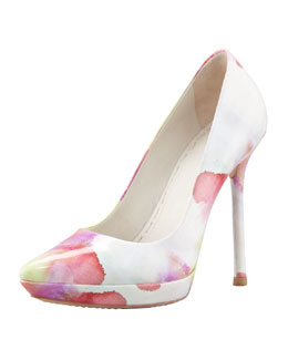 Alice + Olivia Danny Watercolor Patent Platform Pump