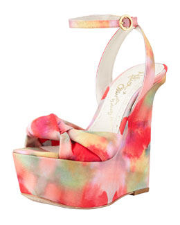 Alice + Olivia Ilisa Watercolor-Print Wedge Sandal