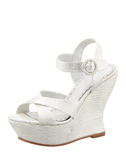 Alice + Olivia Juliet Snake-Embossed Wedge Sandal