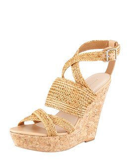Loeffler Randall Lake Strappy Woven Cork Wedge