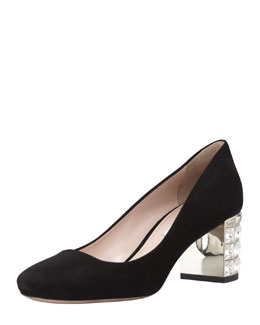 Miu Miu Suede Jewel-Heeled Pump, Black