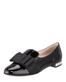 Miu Miu Patent Leather Bow Loafer, Black
