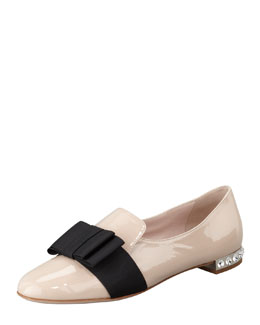 Miu Miu Patent Leather Bow Loafer, Pale Pink
