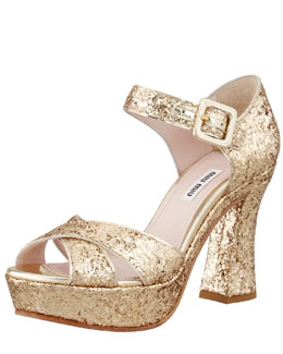 Miu Miu Glitter Crisscross Mary Jane Sandal, Gold