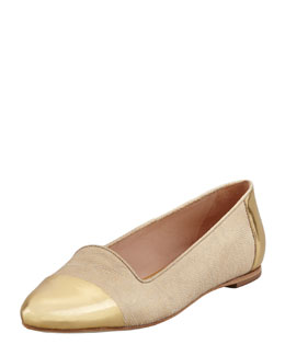 Loeffler Randall Britta Cap-Toe Lizard-Embossed Smoking Slipper, Gold