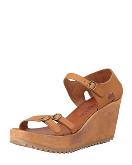 Pedro Garcia Frenchie Buckle-Strapped Sandal, Maple