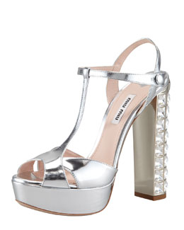 Miu Miu Jeweled Heel Sandal