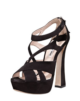 Miu Miu Strappy Suede Zip-Back Sandal, Black
