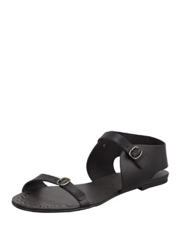 Pedro Garcia Gillian Flat Leather Sandal, Black