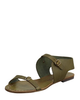 Pedro Garcia Gillian Flat Leather Sandal, Olive