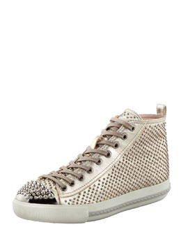Miu Miu Studded High-Top Sneaker