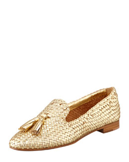 Prada Madras Metallic Woven Leather Tassel Loafer