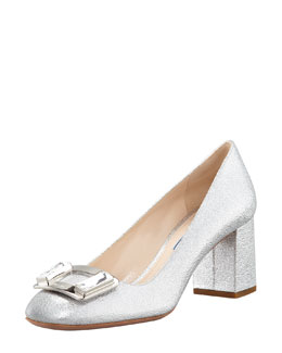 Prada Metallic Ornament Block-Heel Pump, Silver