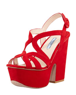 Prada Suede Cutout Chunky Wedge, Red