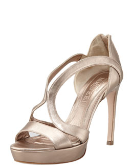 Alexander McQueen Low-Heel Double-Arched Metallic Leather Sandal, Rose