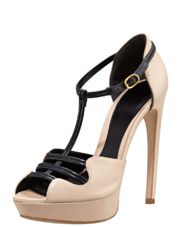 Alexander McQueen Two-Tone Leather Platform Sandal