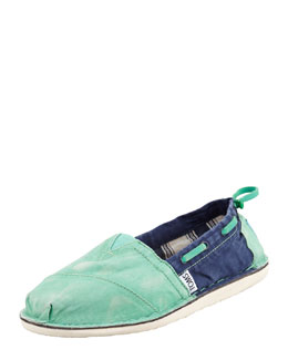TOMS Colorblock Boat Shoe, Green/Blue