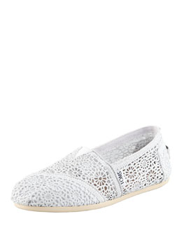 TOMS Metallic Crochet Slip-On, White/Silver