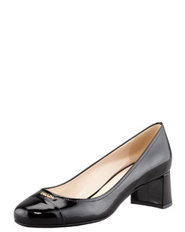 Prada Patent Cap-Toe Leather Pump, Black