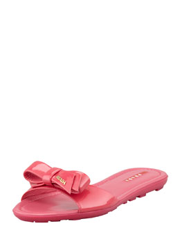 Prada Patent Leather Logo Bow Slide Sandal, Fuchsia
