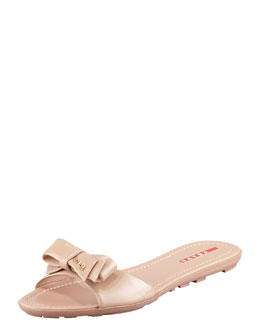 Prada Patent Leather Logo Bow Slide Sandal, Nude