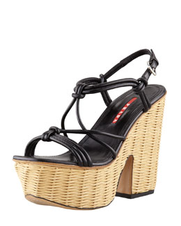 Prada Knotted Leather Wicker-Wedge Sandal, Black