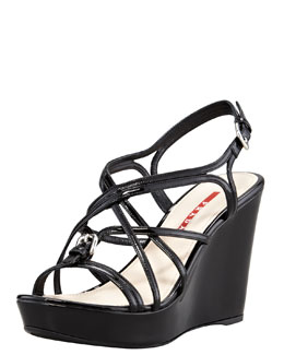 Prada Patent Strappy Buckled Wedge Sandal