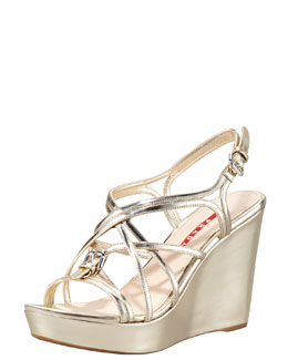 Prada Metallic Strappy Wedge Sandal, Gold