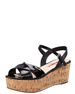 Prada Patent Crisscross Wedge Sandal, Black