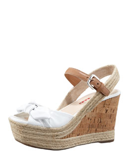 Prada Patent Bow Cork Wedge, White