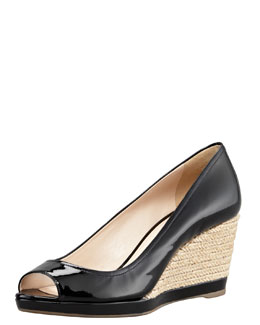 Prada Patent Espadrille Wedge, Black