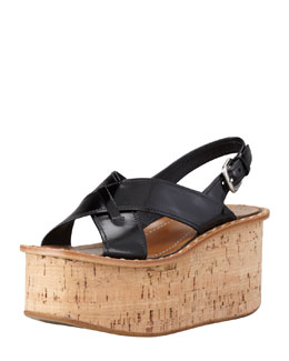 Prada Spazzolato Crisscross Cork Wedge