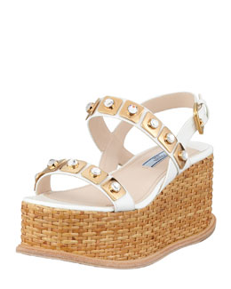 Prada Jeweled Wicker Platform Wedge, White