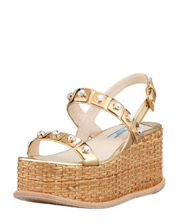 Prada Jeweled Wicker Platform Wedge, Platinum