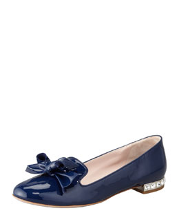 Miu Miu Crystal-Heel Patent Leather Slipper