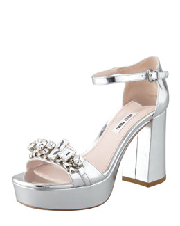 Miu Miu Jeweled Metallic Sandal, Silver