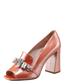 Miu Miu Patent Jeweled Loafer Pump