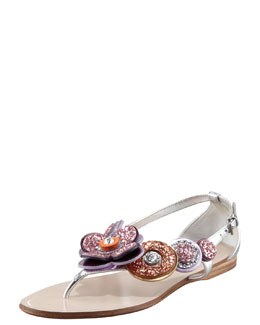 Miu Miu Glittered Flower Thong Sandal
